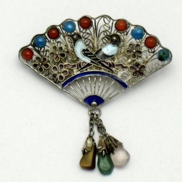 Antique CHINESE EXPORT Silver Coral Turquoise Fan Brooch Circa 1900