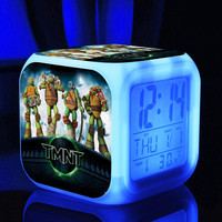 Alarm Teenage Mutant Ninja Turtles TMNT Digital LED 7  Changed Colorful light  / Thermometer ,Night Electronic kids toys