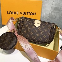 LV Louis vuitton sells casual women's three-piece shoulder bag with logo