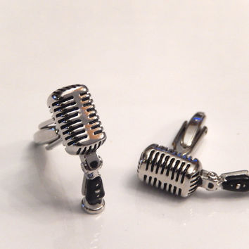 Microphone Cufflinks, Retro Mic Cuff Links, Music Cufflinks, Men's Cuff Links, Wedding Cuff Links, Father's Day