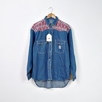 80s ROCKY Mens Denim Shirt / Native American Style / New with Label / Size M