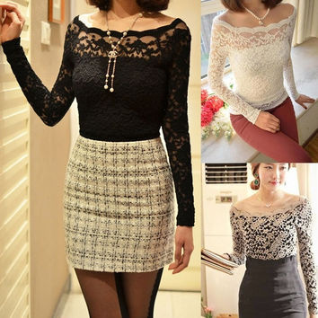 Hot Women Floral Lace Crochet Blouse Top Sexy Off Shoulder Long Sleeve  F_F