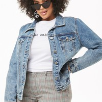 Plus Size Button-Front Denim Jacket
