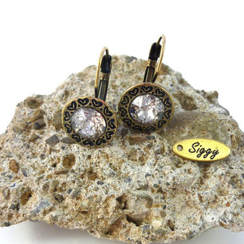 Swarovski crystal earrings, ornate heart decorated border, select a color, Siggy vintage style earrings