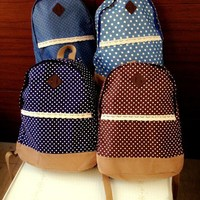 Dot Printed Canvas Backpack