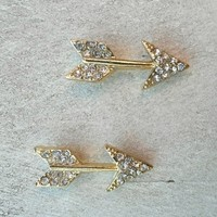 Glittering Arrow Studs [4747] - $12.00 : Vintage Inspired Clothing & Affordable Dresses, deloom | Modern. Vintage. Crafted.
