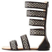 Tribal-Woven Mid-Calf Gladiator Sandals by Charlotte Russe - Black