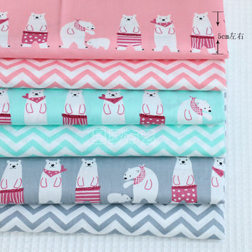 Syunss New Cartoon Wave Printed Cotton Fabric DIY Tissue Patchwork Telas Sewing Baby Toy Bedding Quilting Tecido Tilda The Cloth