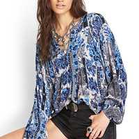 Abstract Floral Woven Blouse