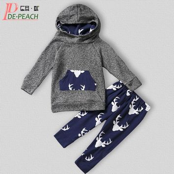 Baby Sports Clothing Set Girls New Born Suit Cotton Hoodies+Pant Girl Boys Long sleeves Deer outfit Autumn baby Brand costumes