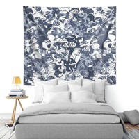 Wall Tapestry By Julia Grifol Blue Butterflies II