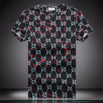 Gucci Man or Woman Fashion Casual Pattern Print Shirt Top Tee