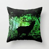 Good morning call of a deer Throw Pillow by Pirmin Nohr