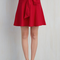 Nautical Mid-length A-line Musee Matisse Skirt in Crimson