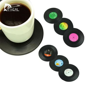 FHEAL 2016 New 6 Pcs/set Retro Vinyl CD Record Drinks Coasters Home Table Cup Mat Creative Decor Coffee Placemat Spinning
