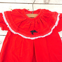 FREE SHIPPING - Baby Dress/Christmas Dress/Red Velvet Dress/Baby Clothing/Vintage Clothing