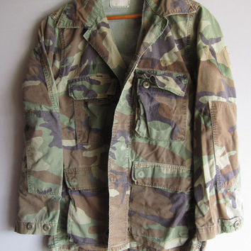 Vintage Camo Jacket Small Military Shirt Woodland Camouflage Distressed Small