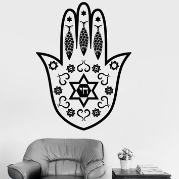 Wall Vinyl Decal Hamsa Hand Amulet Jewish Religion Arabic Stickers Unique Gift (047ig)
