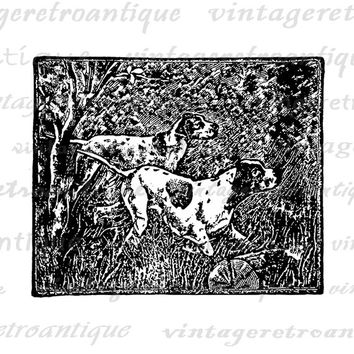 Printable Image Hunting Dogs Graphic Illustration Download Digital Vintage Clip Art Jpg Png Eps  HQ 300dpi No.1413