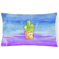 Cactus Blue and Purple Watercolor Canvas Fabric Decorative Pillow BB7363PW1216