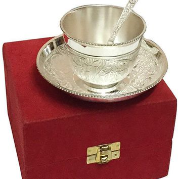 IN-INDIA Royal Silver Plated Tea Cup Set With Red Velvet Box