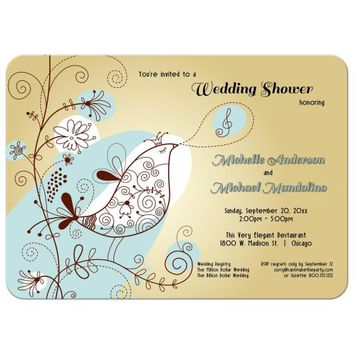 Elegant Singing Bird Wedding Shower Invitation