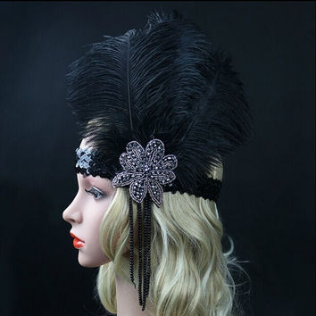Sold Out! Black Ostrich & Rhinestone Feather Headpiece - Vintage Flapper 1920s Great Gatsby
