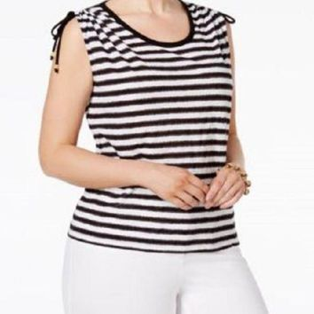 Michael Kors Women's Black Striped Adjustable-Shoulder Cotton Blouse Top Plus 3X