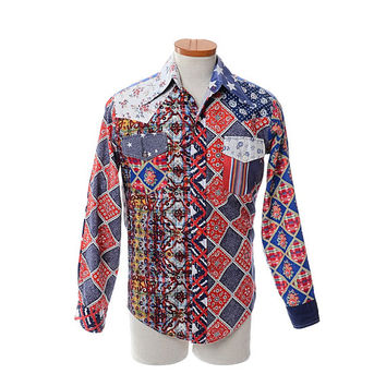 Vintage 70s Funky Groovy Threads Patchwork Shirt 1970s Kennington Hippie Stars Floral Western Hoedown Retro Hipster Shirt / mens M