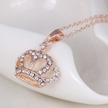 Luxurious Rose Gold Crown Necklace&Pendant