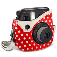 KSeven Colorful [Polka Dots] Stylish Design Protective PU Leather Carrying Bag Case with Shoulder Strap for Fujifilm Instax Mini 8 Instant Film Camera - Blister Packaging (Red)