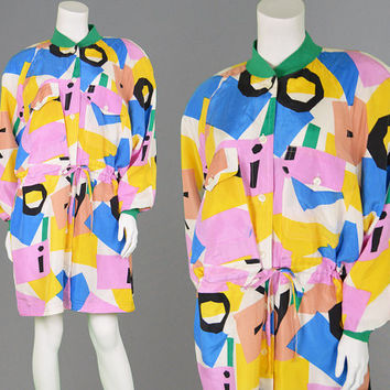 Vintage 80s 90s Jacket PURE SILK Abstract Print Womens Parka Oversized Coat Indie Jacket Fresh Prince 1980s Coat Ski Jacket Geometric Print