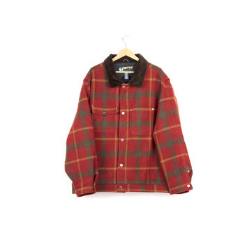 EDDIE BAUER wool flannel jacket / vintage 90s outdoor / red plaid hunting coat / corduroy / mens xl - xxxl