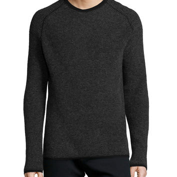 Thermal-Stripe Cashmere Sweater, Black, Size: