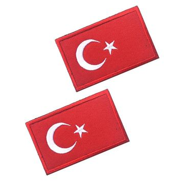 5pcs/lot High Quality Embroid TURKEY Turkish Country Flag patches hook tactical military combat patch morale for jacket vest