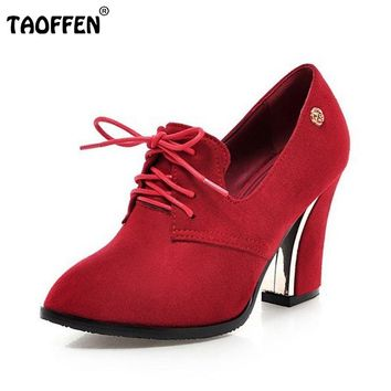 Pointed Toe High Heel  Fashion Lace-Up Square Heels