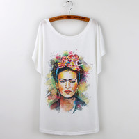 Hot 2016 Summer Brand Clothing Women T-Shirt White Tops Tee Shirt Frida Kahlo Print Tshirt Casual Loose T Shirt Femme Plus Size