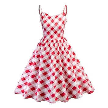 summer Women Dress Pink plaid Cut Bright Red Pullover Sling Zipper Punk Style Vintage Girls Fashion Lovely Active Female Dress