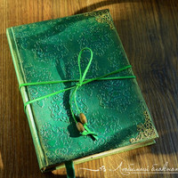 Vintage notebook Textured handmade journal Notebook with hard cover Damask notebook Mixed media journal Handbound journal with emerald color