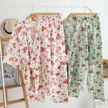 Women's Cotton Pajamas Vintage Yukata Set Womens Floral Pajamas Set Cute Homewear for Women 2017 Summer New