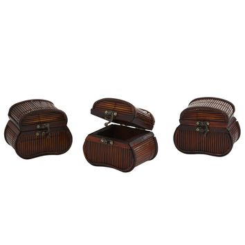 Decorative Bamboo Storage Chest Jewelry Boxes -Set of 3