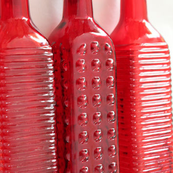 Set of 10 RED GLASS Bottles Colored Wedding Maroon Burgundy Sangria Fall Moroccan Indian Rustic Vintage Rainbow Flowers Vase Shabby Chic