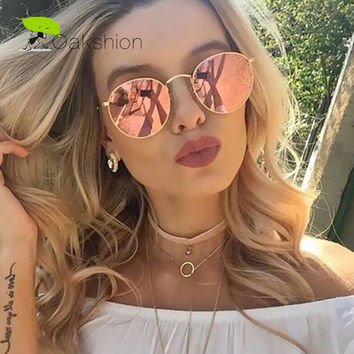 2017 New Sunglasses Women Rose Gold Metal Frame Circle Glasses Mirrored Brand Designer Round Sun Glasses for Women Lunette