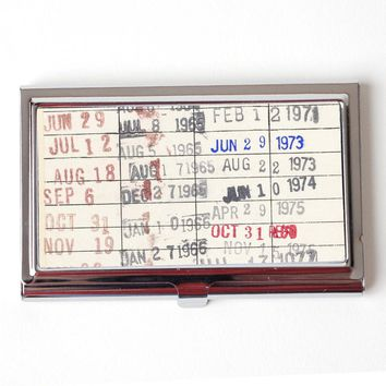 Vintage Library Checkout Card Business Card Case - Business Card Holder for teacher - Reader Gift