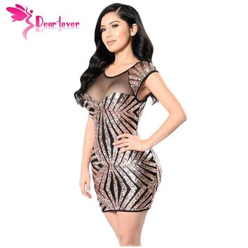 Dear Lover Party Dress Summer Women Short Vintage Gold Sequin Mesh Cutout Sexy Club Bodycon Mini Dress Vestido de Festa LC22959