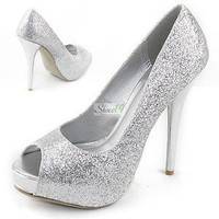 Sexy Peep Dress Glitter Stilettos High Heel Platform Bridal Evening Pumps Shoes