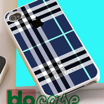 Blue Burberry, Patterns Apple For Iphone 4/4s, iPhone 5/5s, iPhone 5C, iphone 6, and iPhone 6 Plus Case