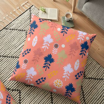 'Peach floral decor' Floor Pillow by cocodes