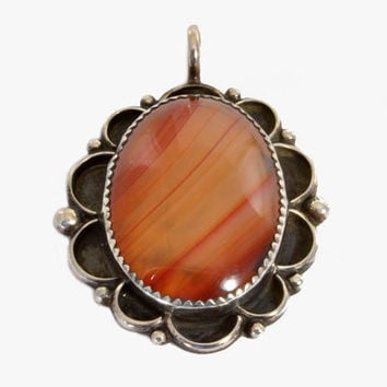 Vintage Native American Sterling Silver Pendant - Orange Agate - IHMJ