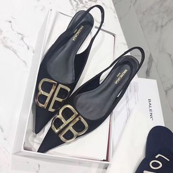shosouvenir Balenciaga Double B bottomed sandals suede high heels  single shoes flat heel shoes